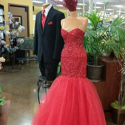 Red Beaded Prom Dress,Mermaid Prom ..