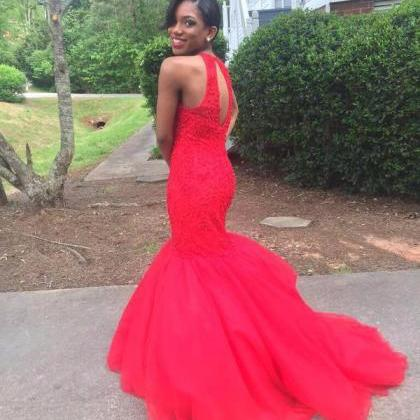 Red Prom Dress,Mermaid Evening Dres..