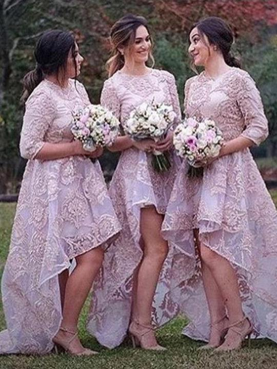 Lavender Long Sleeve Bridesmaid Dress, Round Neck Lace High-Low Bridesmaid Dress 52446