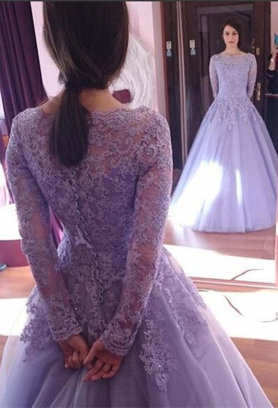 Princess Long Sleeve Prom Dresses,Lilac Quinceanera Dresses,Fashion Prom Dress,Sexy Party Dress,Custom Made Evening Dress