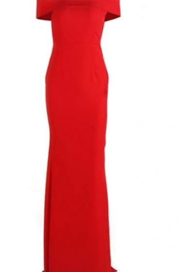 simple elegant red evening dress, long prom dress,Fashion Prom Dress,Sexy Party Dress,Custom Made Evening Dress