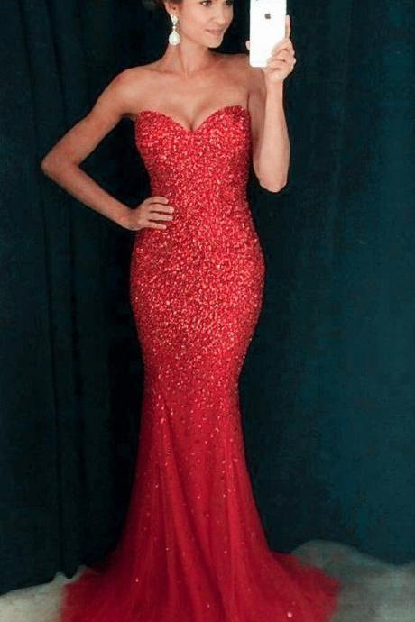 Amazing Red Mermaid Prom Dress,Red Long Prom Dress,Fashion Prom Dress,Sexy Party Dress,Custom Made Evening Dress