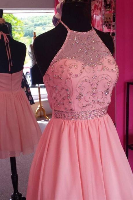 Chic Beaded Halter Pink Chiffon Homecoming Dresses,Fashion Homecoming Dress,Sexy Party Dress,Custom Made Evening Dress