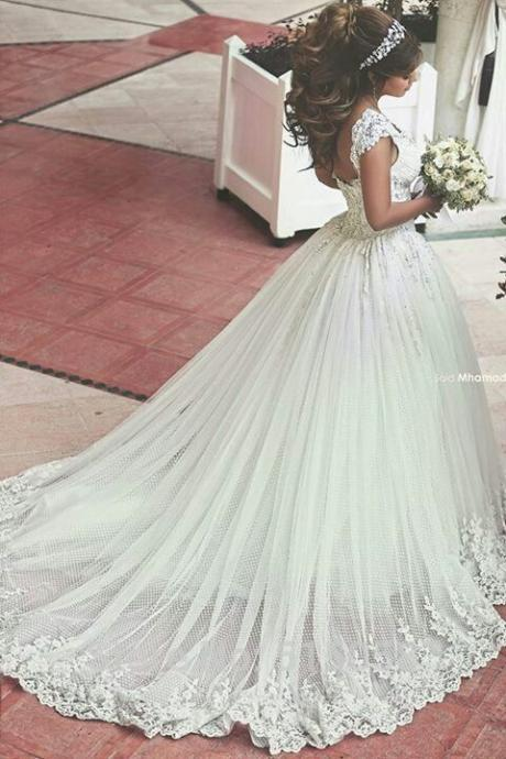 Lace Wedding Ball Gown,Fashion Bridal Dress,Sexy Party Dress,Custom Made Evening Dress