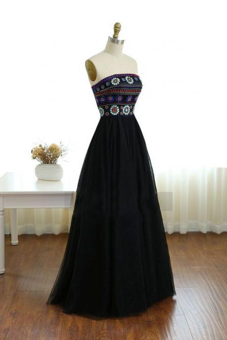 Black Prom Dress,Strapless Evening Dress,Fashion Prom Dress,Sexy Party Dress,Custom Made Evening Dress
