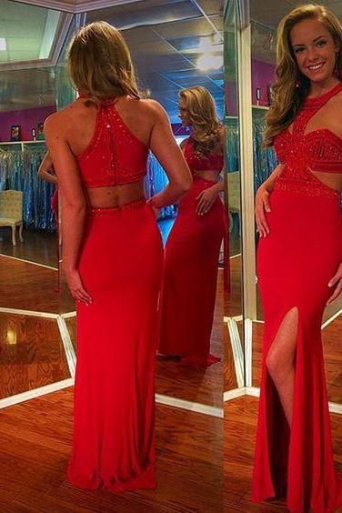 Red Prom Dress,Split Evening Dress,Fashion Prom Dress,Sexy Party Dress,Custom Made Evening Dress