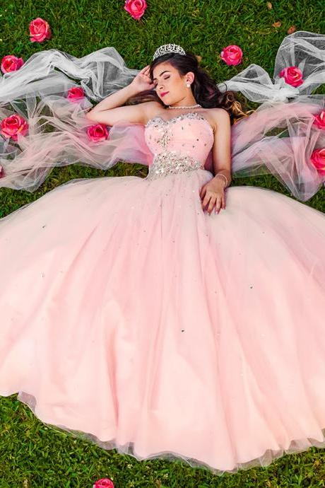 Modest Quinceanera Dress,Beaded Prom Dress,Fashion Prom Dress,Sexy Party Dress,Custom Made Evening Dress