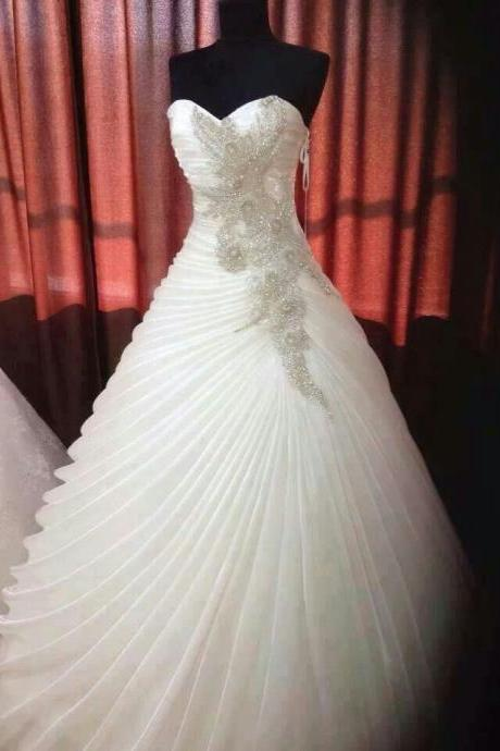 Beaded Wedding Ball Gown,Sweetheart Prom Dress,Fashion Bridal Dress,Sexy Party Dress,Custom Made Evening Dress