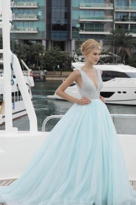 Light Blue Prom Dress,A Line Evening Dress,Fashion Prom Dress,Sexy Party Dress,Custom Made Evening Dress