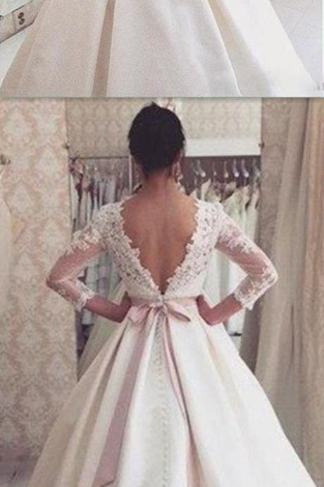 Lace Wedding Ball Gown,Long Sleeve Prom Dress,Fashion Bridal Dress,Sexy Party Dress,Custom Made Evening Dress
