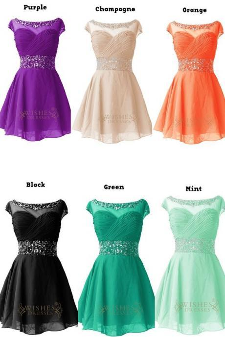 Beaded Cap Sleeves Illusion Top Short Homecoming Dresses ,Fashion Homecoming Dress,Sexy Party Dress,Custom Made Evening Dress