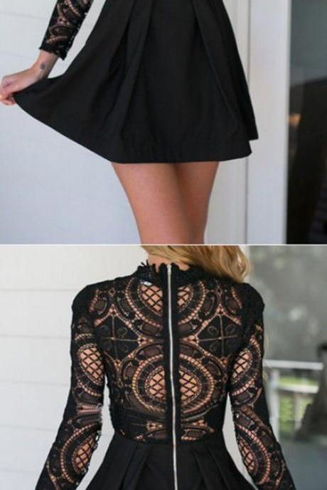 Black High Neck Crochet Lace Panel Skater Dress,Fashion Homecoming Dress,Sexy Party Dress,Custom Made Evening Dress