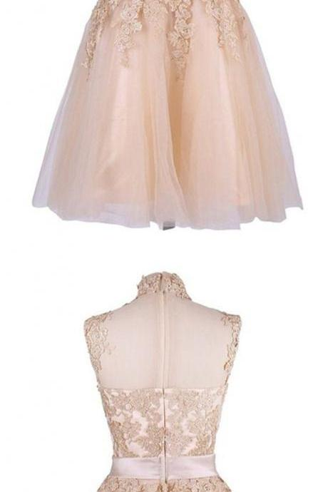 Bowknot Prom Dress,Lace Homecoming Dress, Cheap Homecoming Dresses, Short Cocktail Dresses
