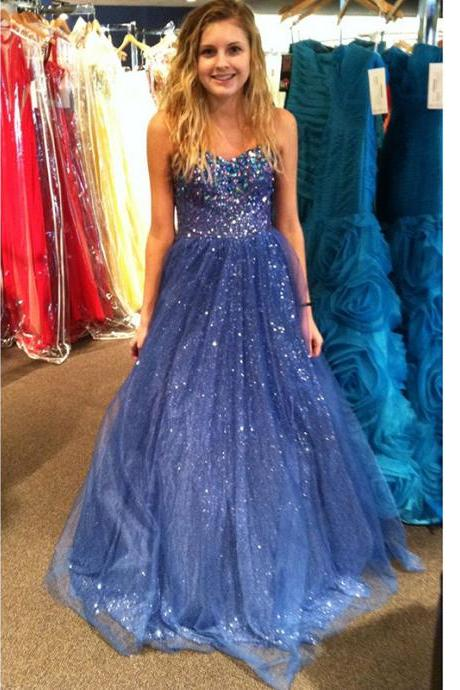 Sparkly Blue Prom Dresses Bling Bling Sweetheart Beaded Sequins A line Tulle Prom Gown