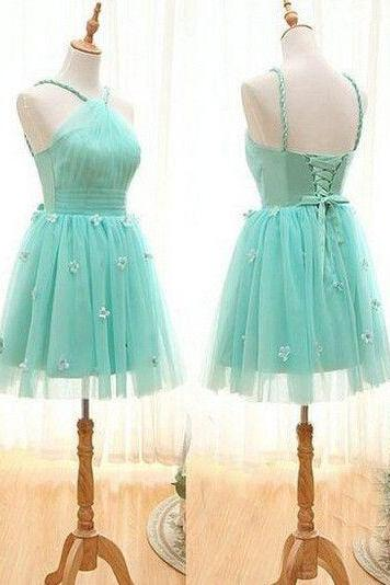 Pretty Handmade Homecoming Dress,Short Tulle Handmade Flower Homecoming Dresses, Cheap Homecoming Dresses, Short Cocktail Dresses