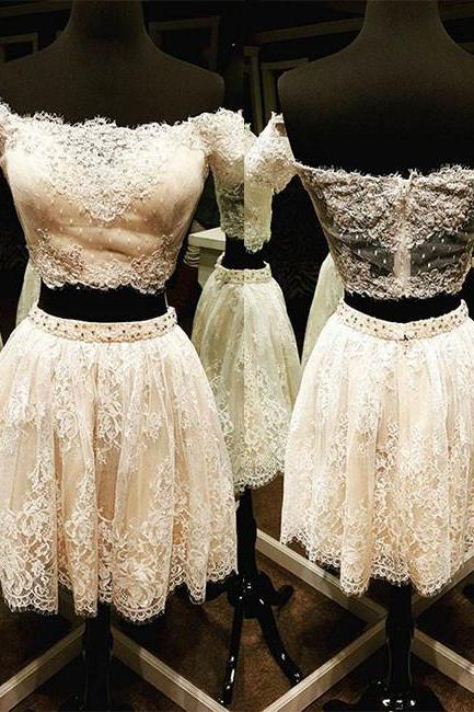 Cute A-Line Two-Piece Off-Shoulder Short Lace Homecoming Dress