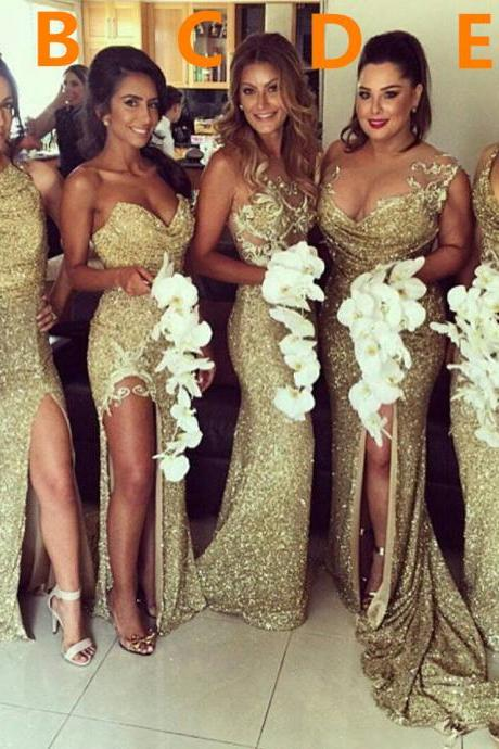 Sexy Gold Sequins 2017 Bridesmaid Dresses Side Slit Sparkly Wedding Party Dress