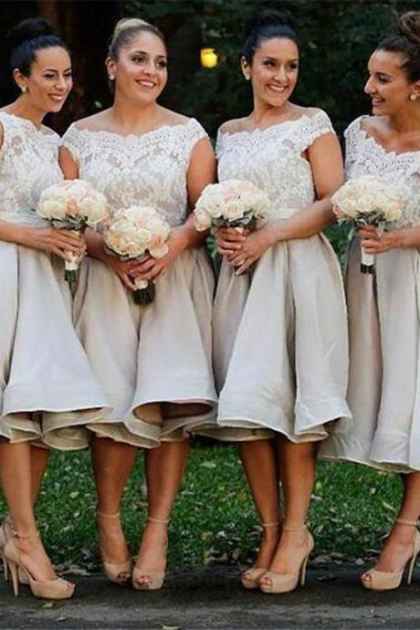 Light Grey Off Shoulder Knee-Length Organza Bridesmaid Dress