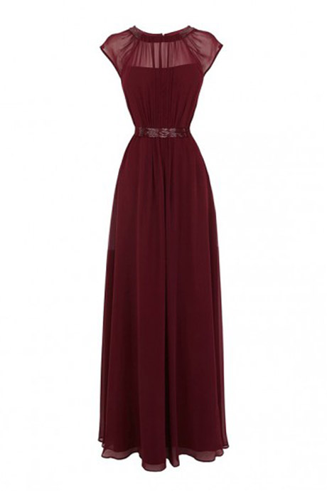 New-Arrival A-line Floor Length Chiffon Burgundy Prom/Evening Dress