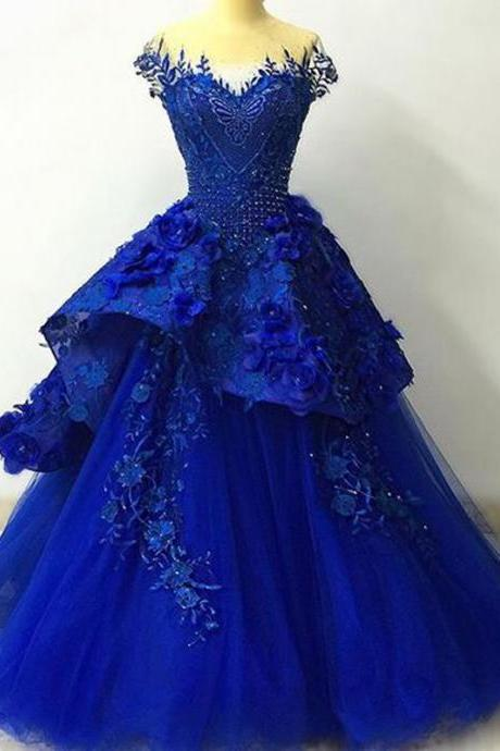 Modest Quinceanera Dress,Blue Applieque Prom Dress,Fashion Prom Dress,Sexy Party Dress,Custom Made Evening Dress