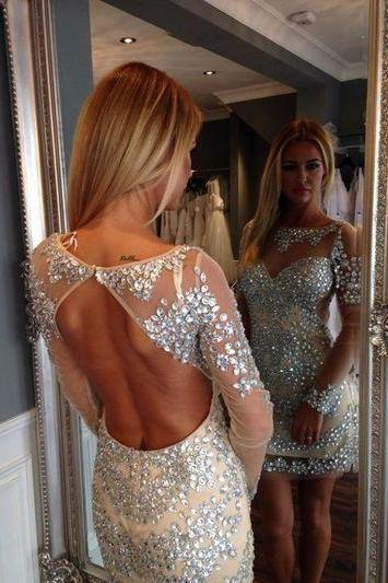 Backless Prom Dress,Long Sleeve Prom Dress,Fashion Homecoming Dress,Sexy Party Dress, New Style Evening Dress