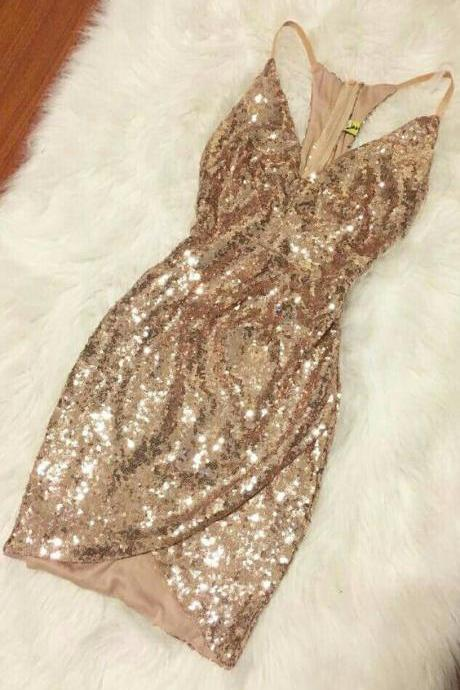 Sexy Prom Dress,Sequined Prom Dress,Short Dress for Prom,Prom Party Dress