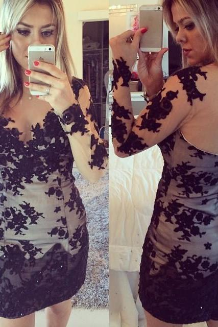 Sexy Prom Dress,Long Sleeve Prom Dress,See Though Appliques Prom Gown,Short Party Dress