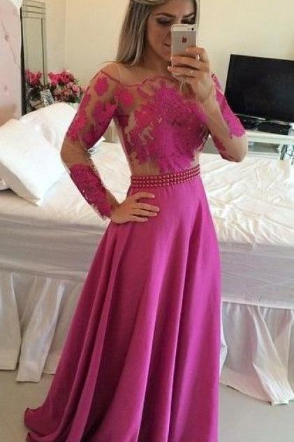 Long Sleeve Evening Dress,Sexy Prom Dress,Long Prom Dresses,Formal Evening Dress