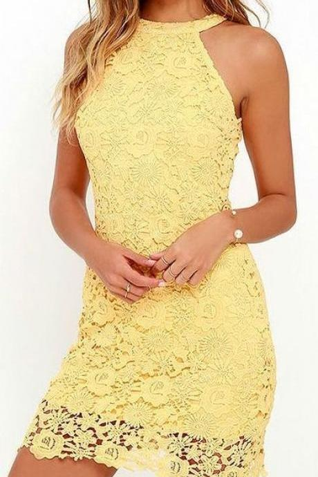 Lace Prom Dress,yellow Homecoming Dresses sexy Evening Dress,cute Party Dress
