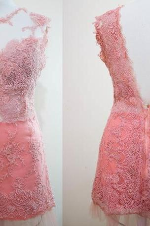 Lace Prom Dress,Backless Homecoming Dresses sexy Evening Dress,cute Party Dress