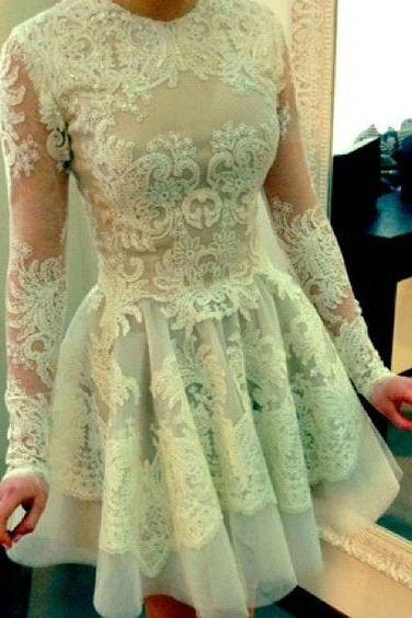 Long Sleeve Lace Pretty Knee Length Cheap Short Graduation Homecoming Dress
