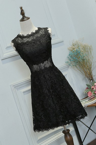 Black Lace Homecoming Dress,Charming Prom Dress