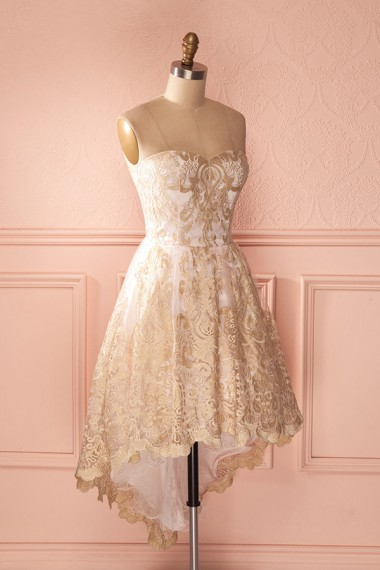 A-Line Sweetheart High Low Champagne Tulle Homecoming Dress with Appliques