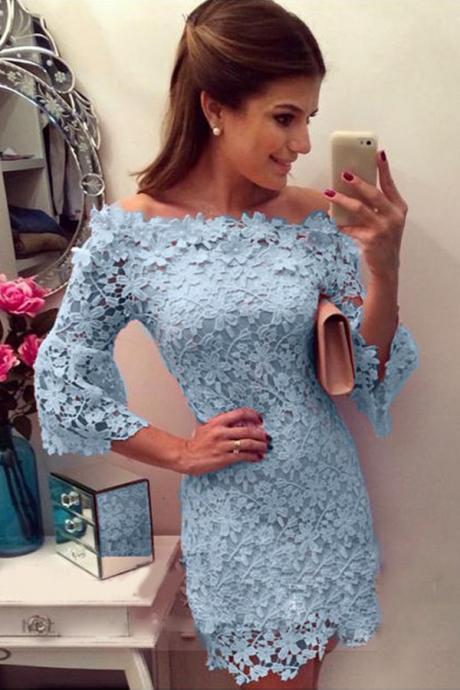 Sheath Off-the-Shoulder 3/4 Bell Sleeves Short Blue Lace Homecoming Dress
