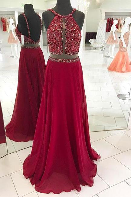 New Arrival Red Beaded Long Prom Dress,Backless Evening Dress,Spaghetti Strap Dress