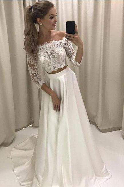 Elegant Simple Off Shoulder Lace-top Prom Dress,White Two-piece Long Evening Dress