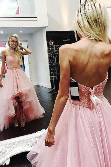 Halter Pink Beaded Top Prom Dress,High Low Organza Prom Dresses,Backless Pink Evening Dress