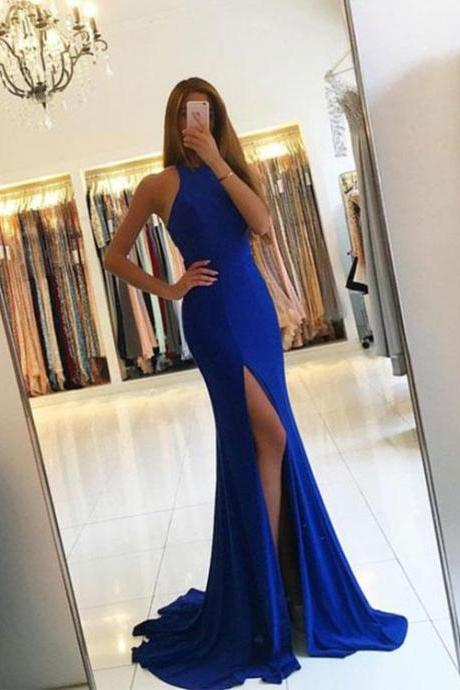 Royal Blue Mermaid Split Prom Dress,Simple Blue Evening Dress