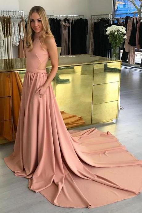 Amazing pink high neck long prom dress, pink evening dresses