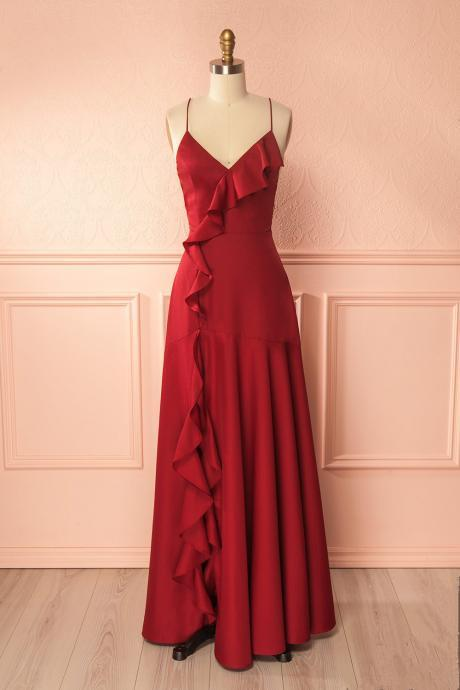 Simple Burgundy V Neck Long Prom Dress,Lace up Back Formal Dress,Prom Dress with Ruffles