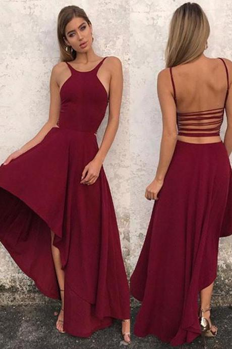 Simple A Line Halter Prom Dress,High Low Prom Dress,2018 Evening Dresses