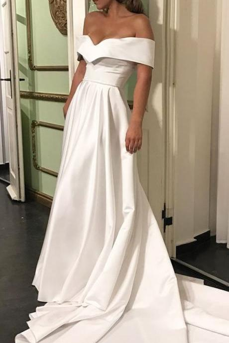 Off Shoulder White Dress,Sweep Train Dress,Sweetheart Long Prom Dress