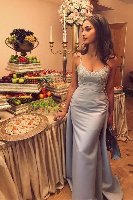 Gorgeous Silver Grey Long Sweetheart Prom Dress,Satin Formal Gown With Beaded Bodice