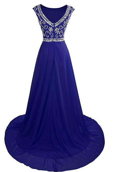 Luxury navy blue chiffon beading rhinestone round neck long prom dresses