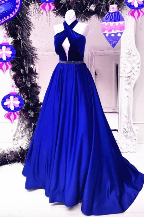 Unique navy blue satin halter A-line long dresses,prom dresses
