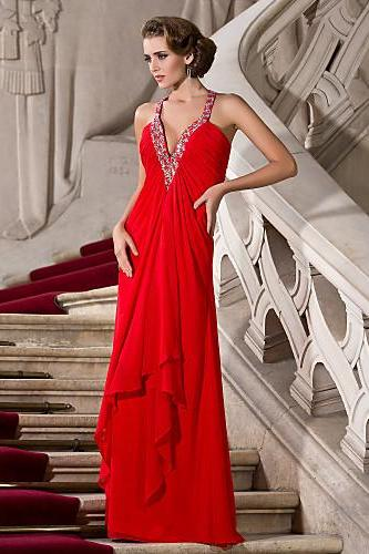 A-Line Dress V-neck Straps Floor Length Chiffon Prom Dress with Beading