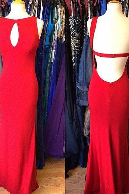 Charming Prom Dress,Sleeveless Prom Dresses,Red Evening Dress,Open Back Evening Formal Dress