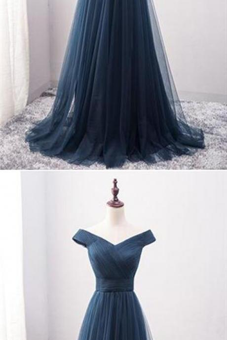Navy Blue Prom Dresses,Off The Shoulder Prom Dresses,Long Prom Dresses,Evening Dresses,Simple Prom Dresses