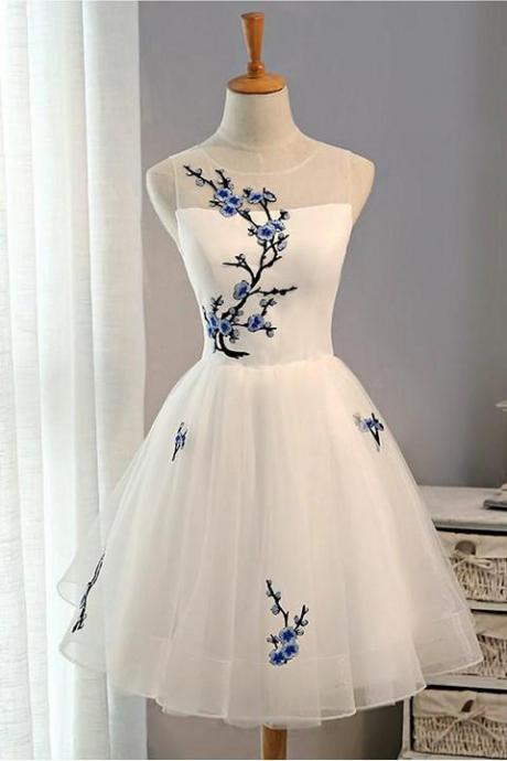 Simple Lace Up Embroidery Short A-line Tulle Homecoming Dresses,Fashion Dresses,Cute Dresses