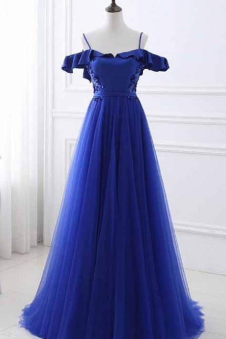 Royal Blue A-Line Dress,Spaghetti Straps Prom Dress,Floor Length Prom Dress,Tulle Prom Dress